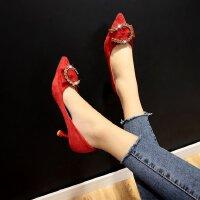 高跟鞋低跟三厘米蝴蝶结水钻红色婚鞋绒面少女小清新工作职业单鞋