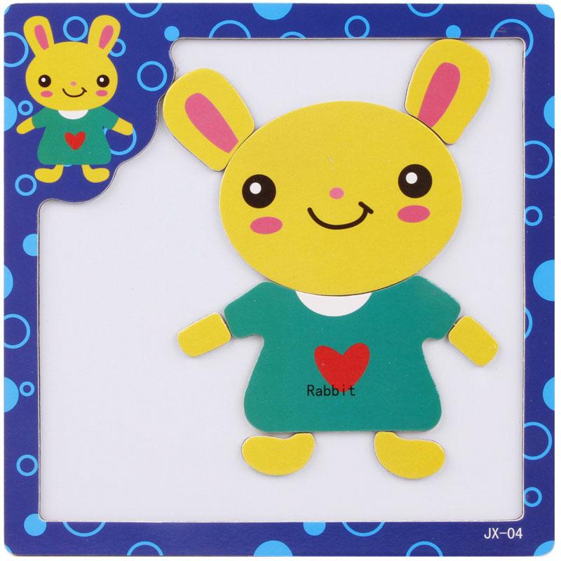 拼图 木制幼儿动物交通益智力拼板 早教玩具儿童礼物_磁性04小兔子