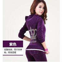 女款韩版修身新款天鹅绒运动套装   女运动服女休闲卫衣时尚潮