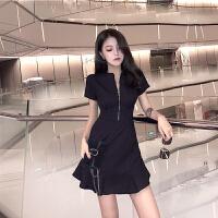 201904192333260782019女装新款夏设计感显瘦小黑裙性感流行夏天裙子气质高端连衣裙