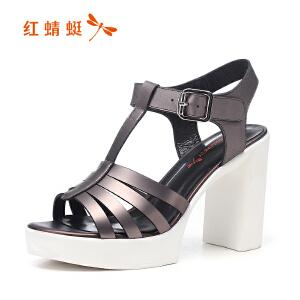 红蜻蜓女鞋秋冬皮鞋鞋子女高跟鞋WFK7068