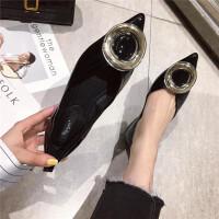 时尚休闲英伦风复古女士单鞋百搭舒适尖头平底新款女鞋
