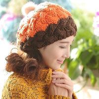 韩版兔毛球毛线帽 森女三色贝雷帽 女士时尚保暖针织帽