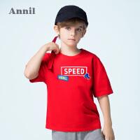 【3件3折:50.7】安奈儿童装男童T恤短袖纯棉夏装新款潮童上衣儿童半袖体恤