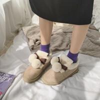 雪地靴女套筒短靴蝴蝶结毛毛鞋2018面包鞋加绒棉鞋秋冬季女鞋