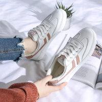 小白鞋女百搭皮面2018秋冬季加绒平底学生韩版运动板鞋帆布鞋