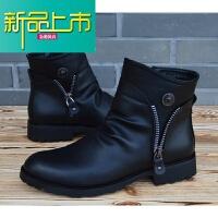 新品上市马丁靴男英伦高帮鞋冬季真皮男士尖头短靴韩版潮流时尚休闲皮靴子