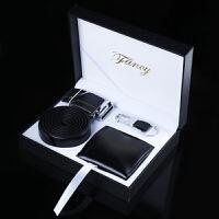送朋友生日礼物 时尚创意男士礼盒套装 皮带+钱包+钥匙扣