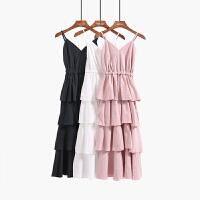 吊带连衣裙夏季款女V领无袖露背显瘦层层荷叶边蛋糕长裙