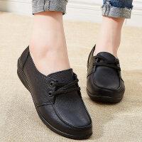 妈妈鞋软底女舒适平底防滑老年皮鞋中年女鞋中老年单鞋真皮老人鞋 黑色