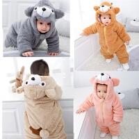 0-1岁婴儿连体衣秋冬外出穿加绒夹棉加厚保暖双层长袖动物爬爬服