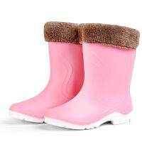 秋冬时尚中筒雨靴短筒女水靴胶鞋套鞋防滑加绒保暖水鞋雨鞋女