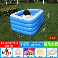 儿童宝宝婴儿游泳池充气水池家用加厚小孩超大号大型家庭泳池 防刀割四层1.5米蓝白婴儿套餐