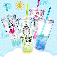 双层塑料吸管杯可爱火烈鸟杯子创意学生随手杯