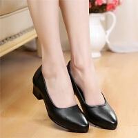 工作鞋女黑色春季中跟尖头单鞋女粗跟皮浅口工装皮鞋空姐职业鞋 黑色