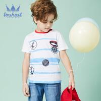 【秒杀价:59元】souhait水孩儿童装夏季新款圆领衫儿童T恤短袖T恤短袖圆领衫专柜同款AQAXM516