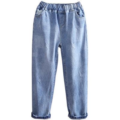 女童牛仔裤春装大童宽松裤子