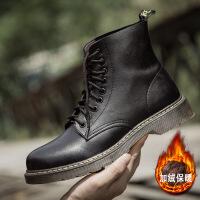 秋冬新款加绒男士增高靴子高帮马丁靴男户外工装男鞋