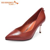 红蜻蜓简约百搭单鞋女浅口性感尖头高跟鞋时尚秋新款细职业鞋欧美