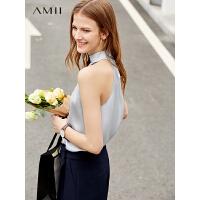 【到手价:88元】Amii极简洋气仙气时尚雪纺衫女2019夏季新款宽松褶皱露肩无袖上衣