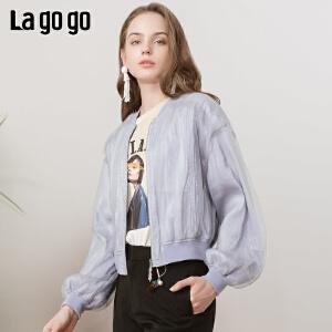 Lagogo/拉谷谷2019春季新款趣味字母印花外套女IAWW21ZG09
