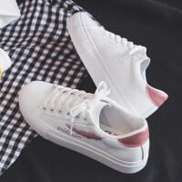 小白鞋女冬季2018百搭韩版板鞋学生帆布鞋子白鞋 Y-1粉色