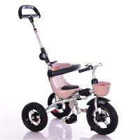 儿童三轮车脚踏车溜娃推车1-3-5岁宝宝婴幼手推车轻便可折叠 咖色 (钛空轮+包)
