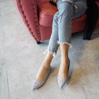 婚鞋女2018新款尖头平底新娘鞋银色伴娘平底鞋香槟色婚纱鞋女单鞋