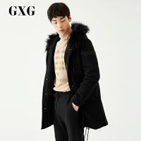 GXG男装 冬季男士韩版黑色中连帽加厚白鸭绒中长款羽绒服男士潮流