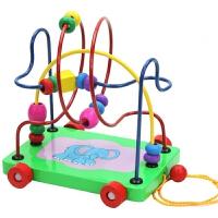 婴幼儿童宝宝拖拉绕珠玩具车早教手拉绳拉线学步车1-2-3周岁c