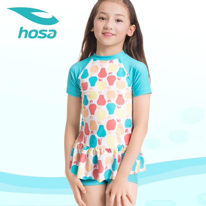 hosa浩沙分体儿童泳衣女童平角裙式游泳衣可爱中小童温泉泳衣 保守平角裙式设计 周身可爱印花