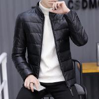冬季男士皮衣外套加绒加厚皮袄冬装袄子皮棉衣青年帅气皮 8628 黑色(立领)