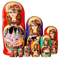 俄罗斯特产烤漆10层套娃清仓木质哈尔滨旅游工艺纪念品礼物