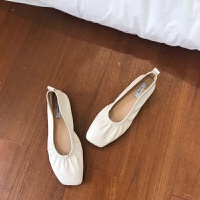 软的~网红新款方头浅口芭蕾舞鞋懒人鞋一脚蹬奶奶鞋 米白 808-6