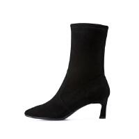 【秋冬新款 限时1折起】哈森 冬季新款牛皮革尖头细高跟袜靴 时尚套筒短靴女HA86027