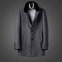 潮牌热推 超值羊毛大衣 冬季新品羊毛呢大衣男格纹外套男中长款商务休闲加厚保暖外套 003896灰色大衣