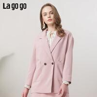 【清仓5折价269】Lagogo/拉谷谷2019春新款西装短款长袖粉色时尚外套女IAWW43ZG06