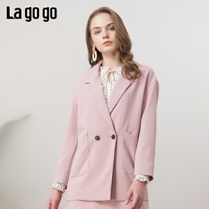 Lagogo/拉谷谷2019春新款西装短款长袖粉色时尚外套女IAWW43ZG06