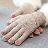 手套冬天女士秋春秋季可爱半指毛线加绒露指骑车用保暖针织触屏冬
