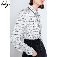 Lily2019夏新款复古气质镂空字母宽松单排扣通勤长袖白衬衫女4920