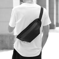 死飞包斜挎包男士胸包女学生帆布小包包韩版男包单肩运动腰包 黑色 18716