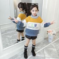 儿童卫衣 女童加绒加厚拼色抓绒衣2020冬季新款韩版保暖棉衣女童中大童长袖字母套头衫