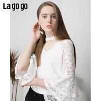 【5折价120】lagogo2019春新款上衣很仙的白色蕾丝洋气百搭T恤女IATT592A04