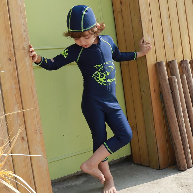 儿童泳衣男童中大童长袖防晒连体游泳衣宝宝男孩潜水服