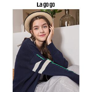 【秒杀价173】Lagogo/拉谷谷2019秋冬新款宽松针织开衫条纹毛衣外套 女此款均码HCMM837G60