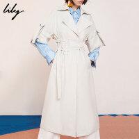 【6/4-6/8 一口价:379元】 Lily春女装气质修身显瘦长款宽松休闲薄风衣119130C1236
