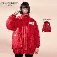 红色工装风连帽棉服女2020春装新款立领小个子加厚ins外套太平鸟