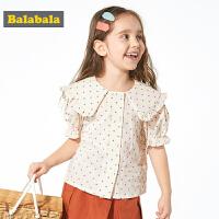 巴拉童装女童衬衣洋气儿童衬衫短袖夏装新款小童宝宝波点上衣