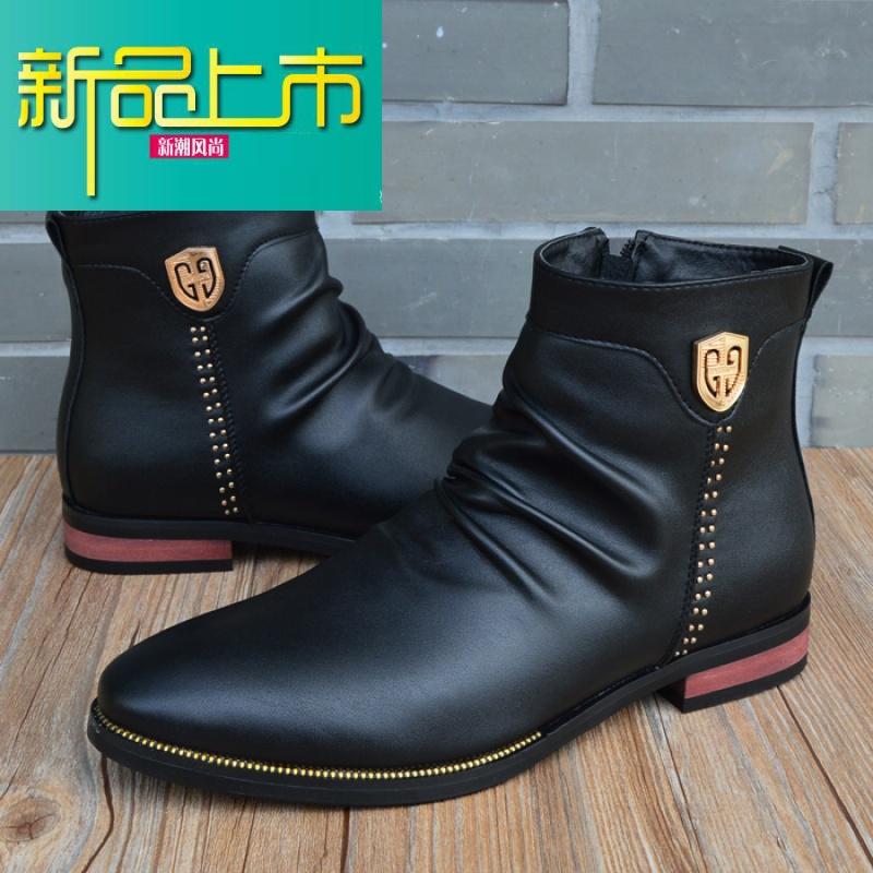 新品上市英伦高帮鞋男士短靴潮鞋尖头皮鞋韩版潮流男马丁靴短筒男式皮靴子   新品上市,1件9.5折,2件9折