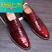 新品上市新款男士正装皮鞋春季英伦风潮鞋尖头内增高男鞋韩版休闲鞋子